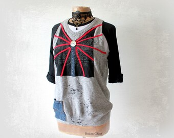 Grungy Sweater Vest Upcycled Art Shirt Denim Pocket Layering Clothing Rustic Urban Style Splatter Paint Trendy Clothes Eco Wear M 'JORDANNA'