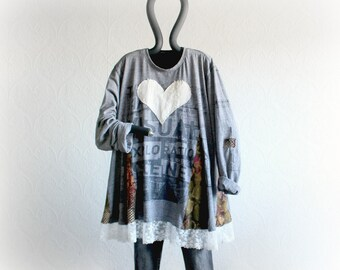 Loose Sweater Cozy Boyfriend Shirt Plus Size Oversize Top Upcycled Women Long Sleeve Gray Tunic Casual Clothes Baggy Heart Top XL 1X 'ASHLEY