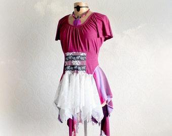 Wearable Art Top Fuchsia Purple Hippie Clothing Layered Lace Mori Girl Bohemian Clothing Boho Gypsy Tunic Unique Funky Shirt S M 'DESIREE'