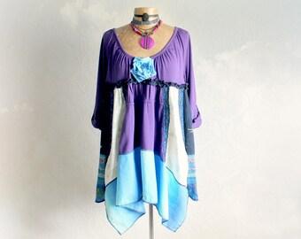 Romantic Boho Top Plus Size Tunic Lagenlook Clothing Bohemian Gypsy Festival Shirt Altered Clothes Purple Art Smock Babydoll 1X 2X 'BETHANY'