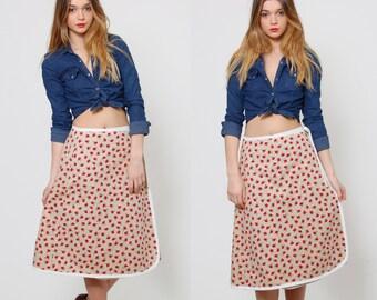 Vintage 70s WRAP Skirt STRAWBERRY Print Retro Skirt NOVELTY Print Midi Skirt Fruit Print Skirt
