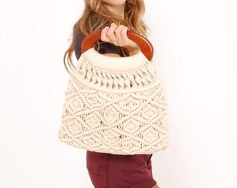 Vintage 70s MACRAME' Handbag BOHO Bag HIPPIE Festival Bag Woven Summer Bag