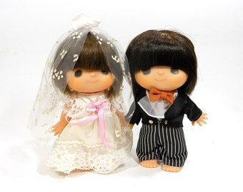 Vintage Wedding Bride and Groom Doll Couple Large Cake Toppers Party Decor Decorations Vinyl Japan PeachyChicBoutique
