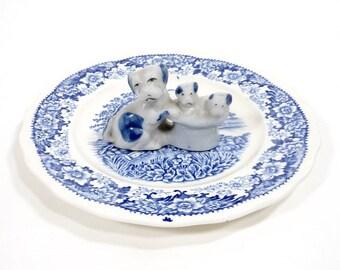Vintage Occupied Japan Dog Puppy Figurine Ceramic Delft Blue Miniature Top Hat Mid Century Home Decor Accent Collectible PeachyChicBoutique