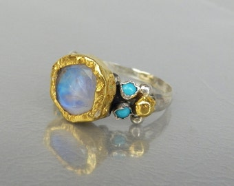 Gold and Silver Engagement Ring, Moonstone Ring, Venus Ring, Statement Ring, Moonstone Jewelry, Antique Style Ring, Engagement Ring