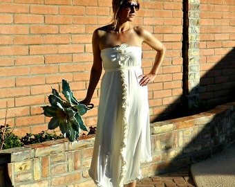 Hippie Wedding Dress-Bohemian Wedding Dress-Boho Wedding Dress-Beach Wedding Dress-Strapless Tea Length Ada Boho Chic A Line Sheath