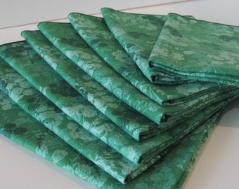 Cloth Napkins Green Flowered