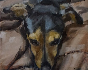 Gold, Tan and Black Terrier on Brown Background  - Original Painting by Clair Hartmann