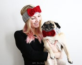 Bow Tie Headband & Knit Dog Collar Set - Mother's Day Gift - Dog Mom Gift  -Custom Pet Gift - All You Need is Pug® - Dog Photo Shoot Attire