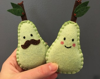 Valentine's day couples gift - Pear Pair - a pair of pears gift for couples by HibouDesigns - two mini pear plushies