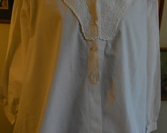 "1860's, 38"" bust, white cotton broadcloth bed jacket,"