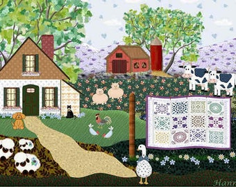 Painting ACEO Farm Country Quilt, Original Graphic Design Art Card