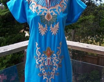 Vintage Caftan, Embroidered Caftan, Blue Caftan, Festival dress, size M / L