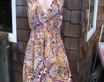 Sun Dress, Hippie dress, Boho Dress, Sleeveless dress, 80s Sun dress, size L