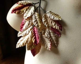Velvet Leaves in Caramel & Raspberry for Bridal, Boutonnieres, Bouquets, Millinery ML 128 - 4919