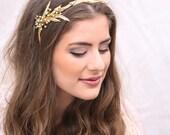 Gold Wedding Headpiece, Brass Leaf Tiara with Pearls, Grecian Gold Leaf Hair Vine Golden Bridal Headpiece Laurel Wreath