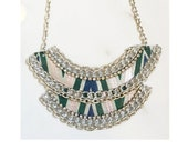 Leather Chain and Rhinestone Necklace - The Ilycia Silver Stripe - Costume Jewelry Boho Chic Unique Women Trendy Handmade Flocktails Beach