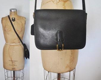 Coach SADDLE Pouch Bag / black leather / Messenger Satchel purse / New York