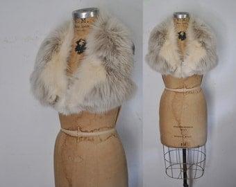 Fox Fur Collar / cream and gray / bridal wedding