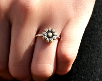 Mammoth Sunflower, Flower Ring, Stack Ring, Silver Stack Ring, Sunflower Stack Ring, Boho Ring, Sterling Silver, Antiqued,  Sunflower Ring