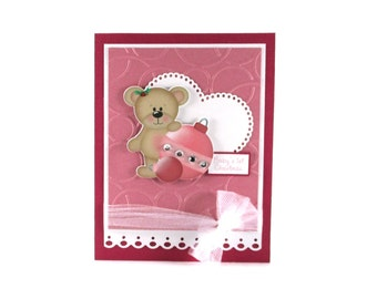 1st Christmas card for girl, first Christmas card for girl, baby girl, Teddy bear, Holiday cards, personalized cards
