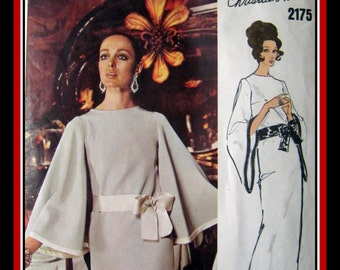 Vintage 1969-Vogue Paris Original-Stunning Evening Dress-Two Styles-Sewing Pattern-CHRISTIAN DIOR-Size 10-Mega Rare-Very Collectible