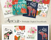 Printable Download HAPPY TAGS inspiration quotes print-it-yourself greeting cards scrapbooking clip art hang gift tags designed by ArtCult