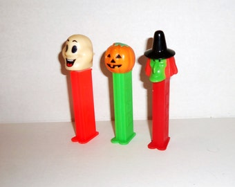 3 Vintage Halloween Pez Candy dispensers Green Face Witch JOL Ghost
