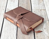 Leather Journal with Ribbon Bookmark, Rustic Travel Sketchbook