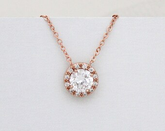 Rose Gold Solitaire necklace, Crystal Bridal necklace, Rose Gold wedding necklace, Wedding jewelry, Bridesmaid jewelry, Halo necklace