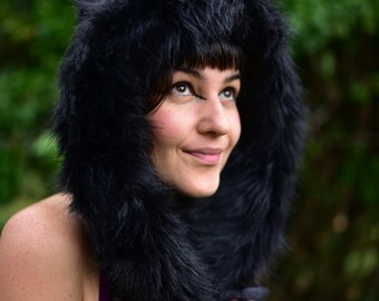 Felt Melted Goddess Of The Wild Animlas Tribal Scoodie Fur Trimmed Pixie Hooded Hat OOAK