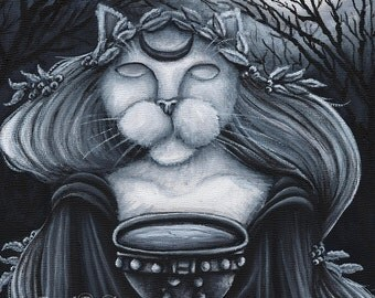 Druid Priestess Cat Art, Oracle, Seer Fantasy 5x7 Print