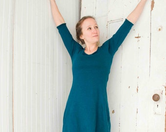 SAMPLE SALE - Size XS/S - Hemp 3/4 Sleeve Tunic Dress - Hemp and Organic Cotton Knit - Ready to Ship - Lagoon Teal