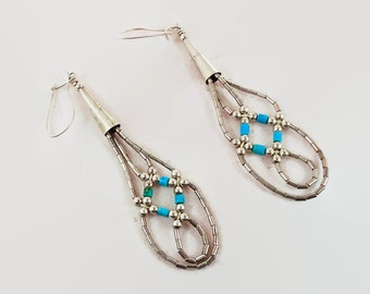 Turquoise Earrings, Sterling Silver, Liquid Silver, Native American, Dangle Earrings, Pierced, Boho Jewelry, Bohemian, Statement Earrings