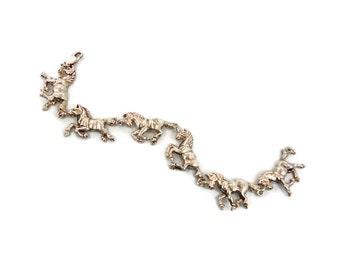 Horse Bracelet, SterlingSilver, Vintage Bracelet, Equestrian, Running Trotting, Galloping, Heavy Silver, Unique, Quality, Links Linked, Big