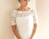 Bridal reception top, bridal cover up, wedding bolero, lace topper, wedding cover up, wedding dress topper  - style 713