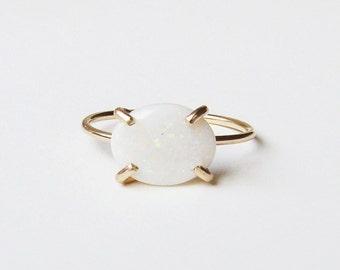 White Opal Gold Ring OOAK