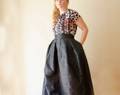 Black Maxi Full Skirt Silk Shantung High Waist Long Evening Skirt with Pockets, Prom Cocktail Skirt, Customize color and length, Plus sizes