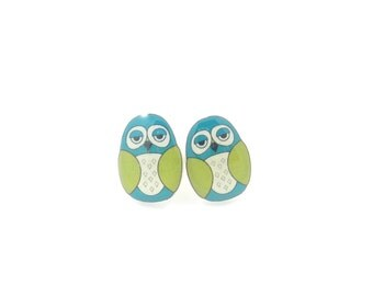 """Lime Green and Turquoise Blue Owl  Earrings.  Post or Stud Earrings.  SMALL and Lightweight 1/2"""" or 13 mm Tall."""