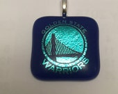 Fused Dichroic Glass Pendant-Golden State Warriors Basketball Blue and Gold New!