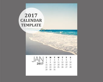 2017 Calendar Template, 5x7 size loose sheet 12 month calendar, Downloadable calendar file, Fresh Clean Minimalist Minimal Modern Template