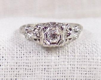 Art Deco 18K Gold Diamond Engagement Ring .25 Carat