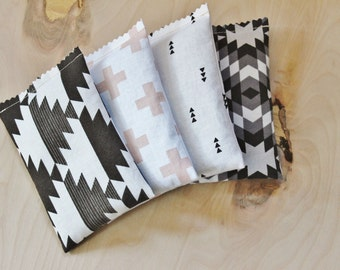 4 Scandinavian Modern Lavender Bags, Scented Drawer Sachets, Cotton Anniversary for Her