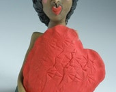 LOVE, Red Heart, Heart Sculpture, African American, SCULPTURE, Sculpted Figure, Porcelain figure, Clay People, Clay Sculpture, Little People
