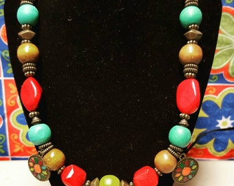 Colorful Wooden Bead Necklace