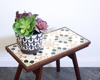Mid Century Tile Table / Folding Patio Table / Side Table / Boho Decor