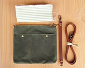 Waxed Canvas Crossbody Purse in Avocado Green, Choose Your Lining Color, Custom Length Leather Strap, Small Messenger Bag, Cross Body Purse