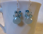 Chalcedony Apatite Earrings with Gemstone Cluster in Silver