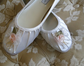 8M Bridal Ballet flats white satin with pink floral and lace design