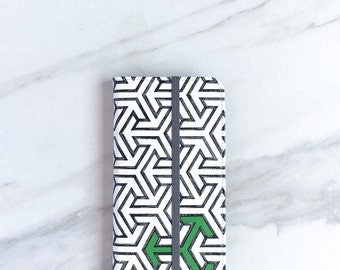 iPhone 6 Wallet Case Arrow Pattern, iPhone 6S Plus Green for Go, Geometric Faux Leather